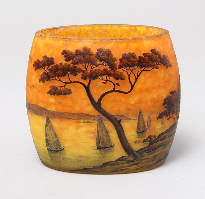 Chasenantiques Com French Glass Daum Nancy Lake Scenic Vase