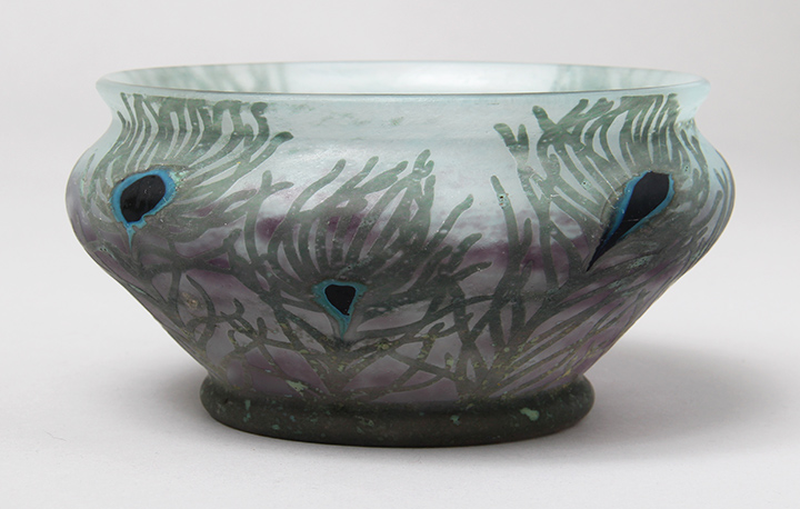 Daum Nancy, Peacock Feather Bowl