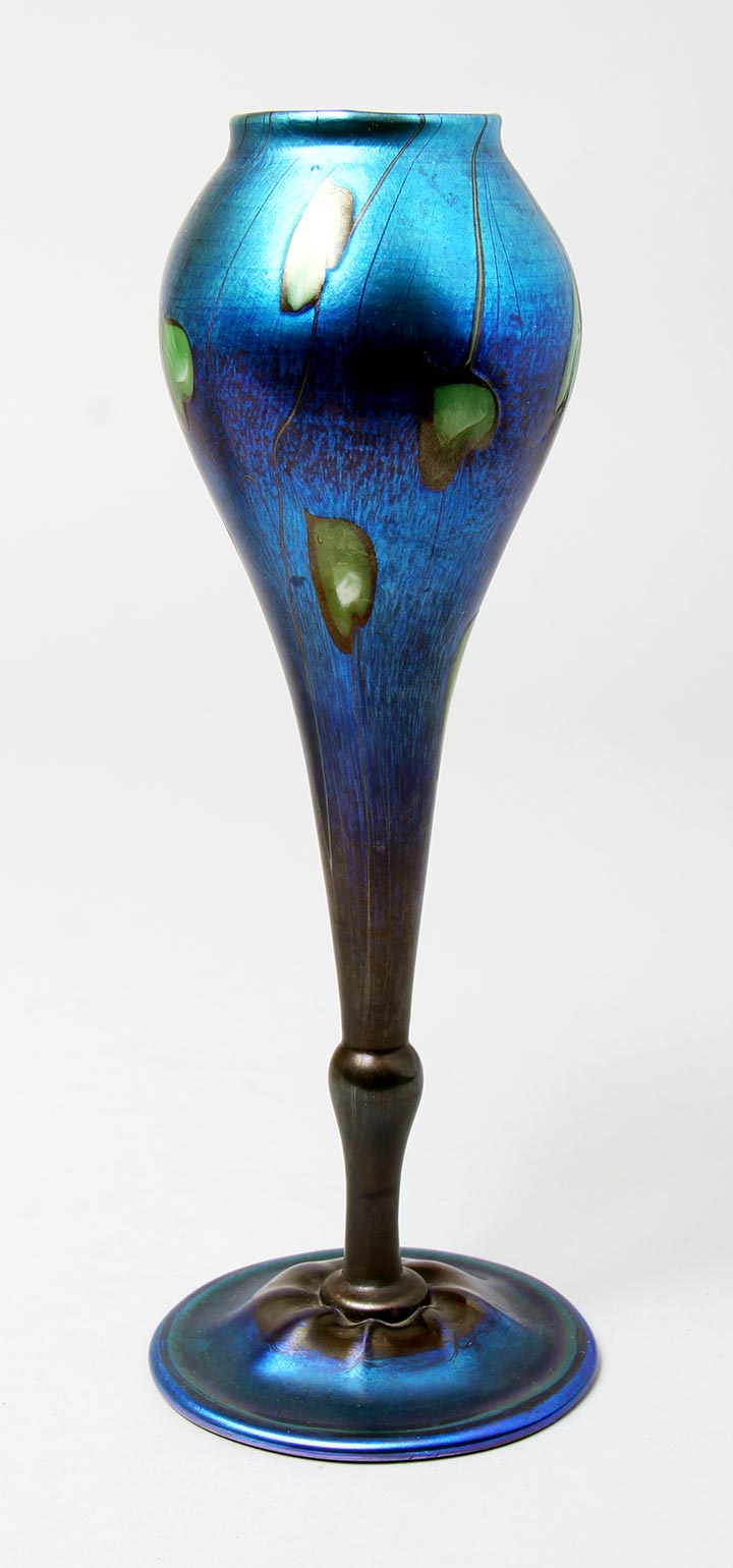 Tiffany Favrile, Blue Hearts & Vines Vase
