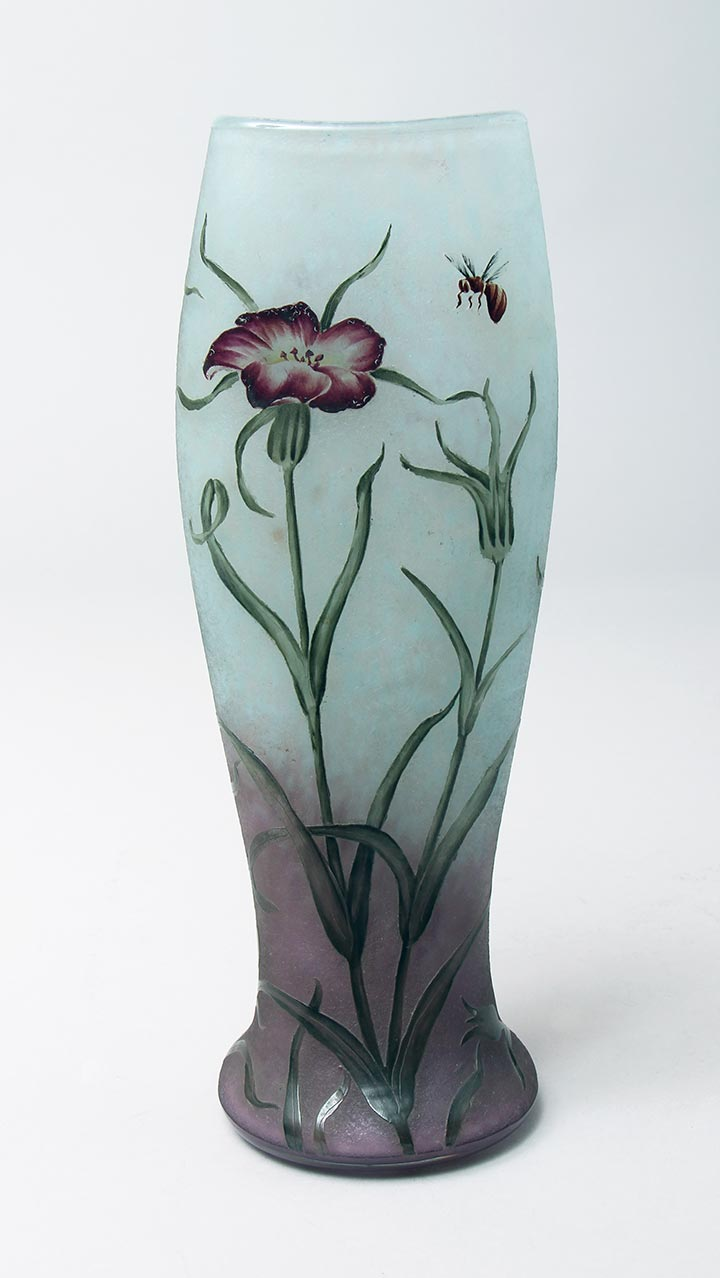 Purple Floral Vase With Bee