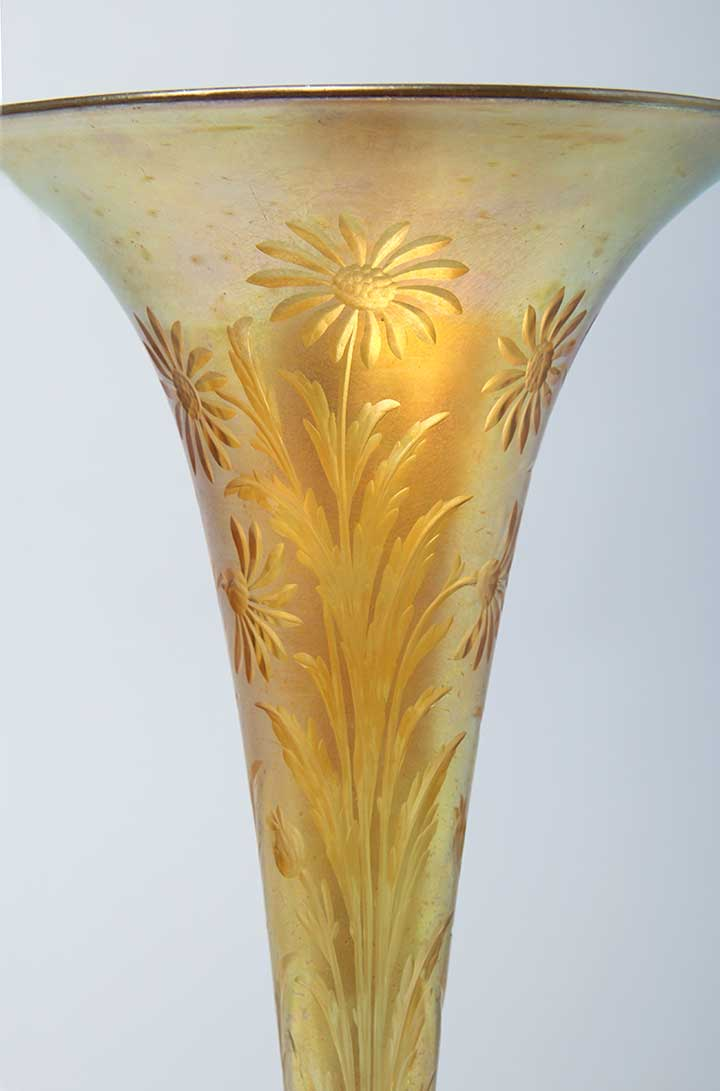 Gold Carved Trumpet Vase