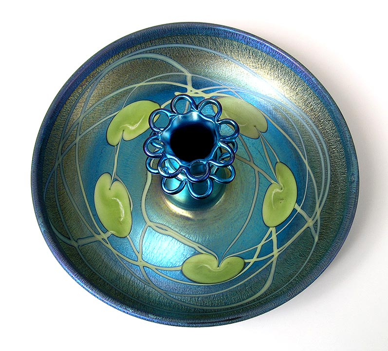 Tiffany Favrile, Blue decorated flower bowl